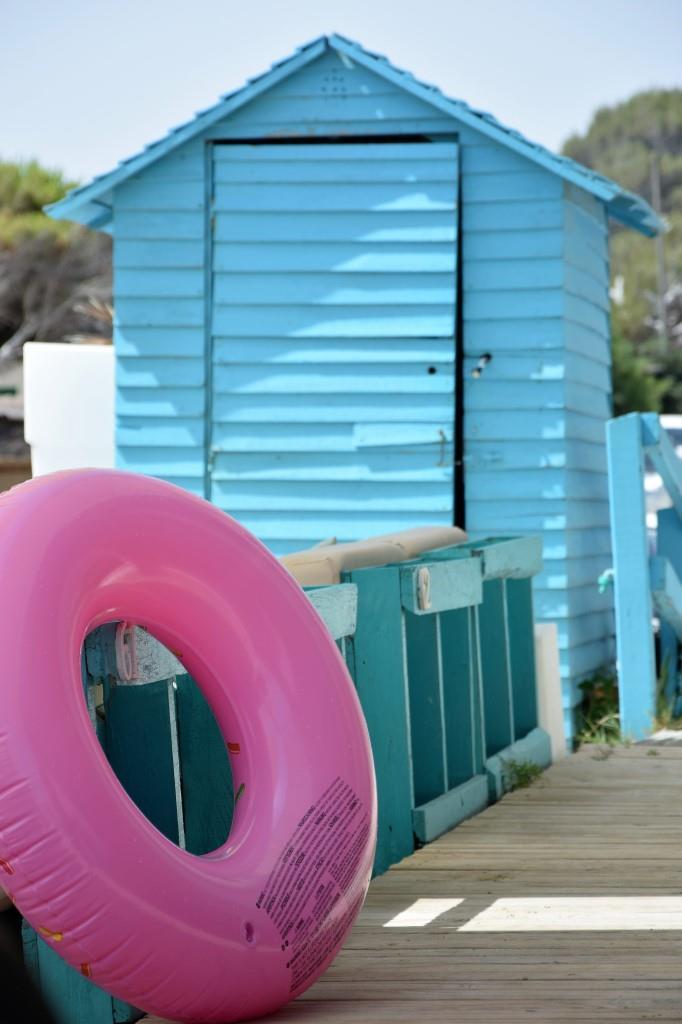 Strandhütte Schwimmring Pink Türkis