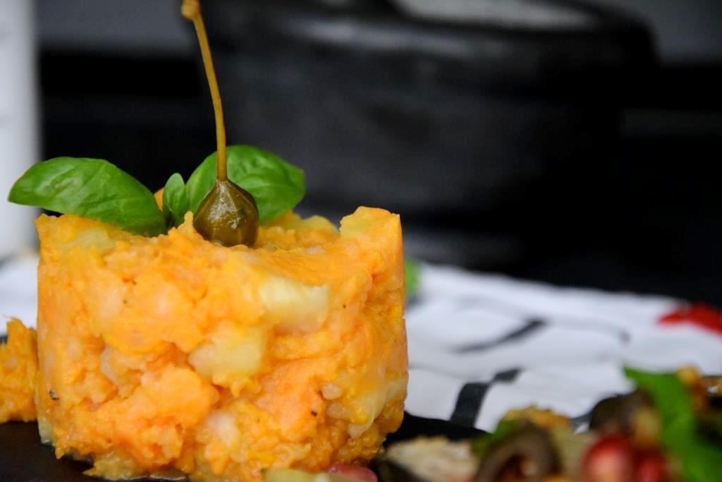 Unterfreundenblog Ottolenghi Lachs Pinienkernsalsa Salmon Pinenutsalsa Bridget Jones Rezept Recipe Stampfkartoffeln Mashed Sweet Potatoes