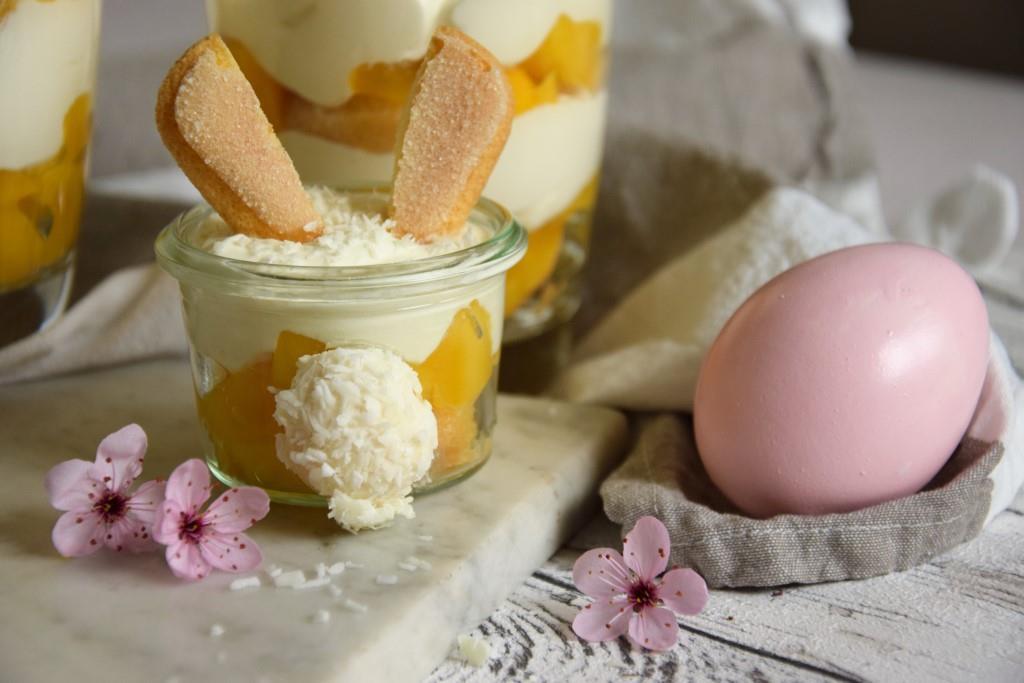 Des Osterhasen liebstes Dessert – schnelles Mango-Tiramisu (ohne Ei und mitÖhrchen)