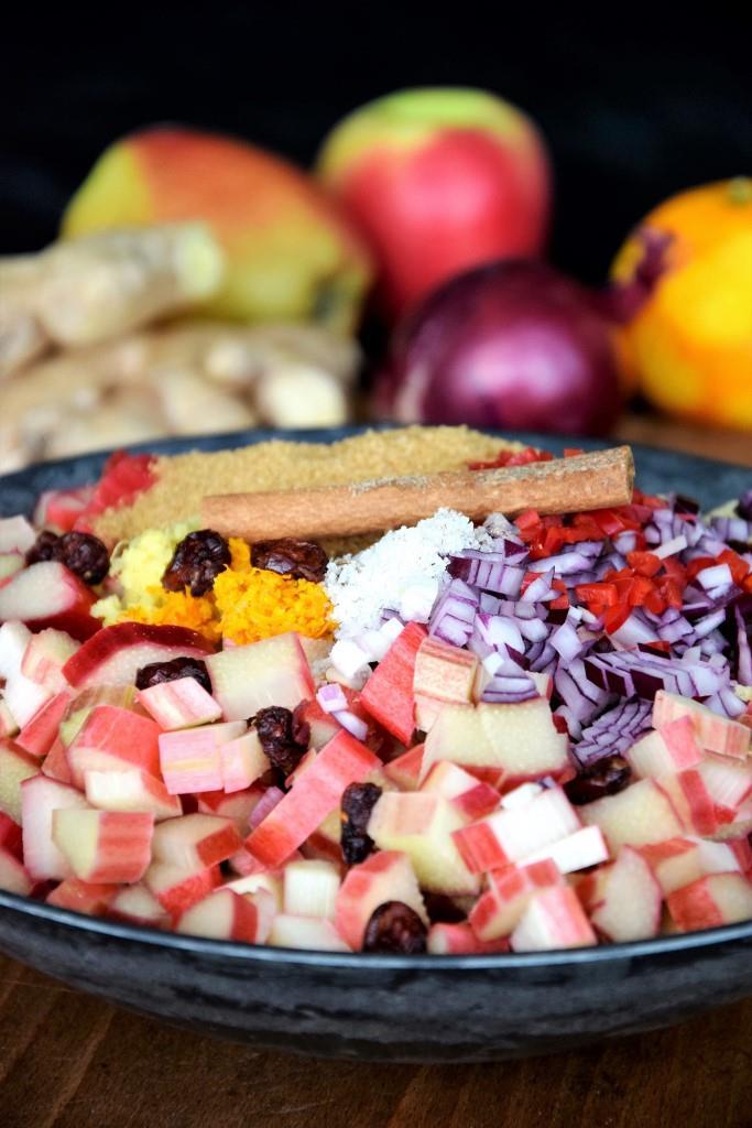 Zutaten für das Rhabarber-Apfel-Chutney - Unterfreundenblog
