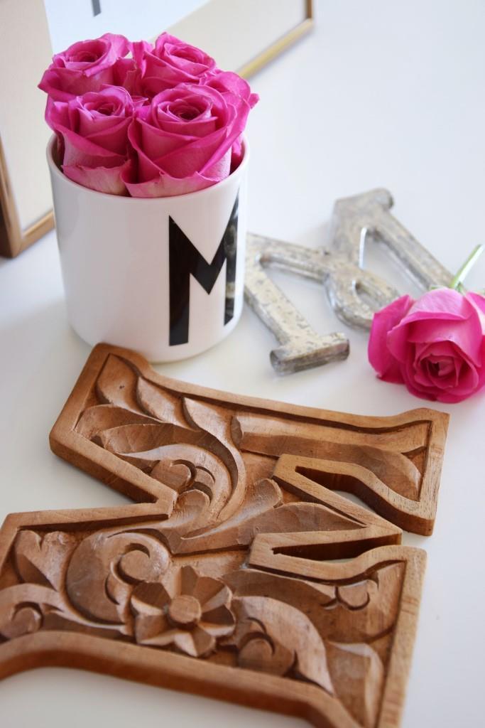 Arne Jacobsen Design Letters Pink Roses, Anthropologie Letter silver, Wood Letter
