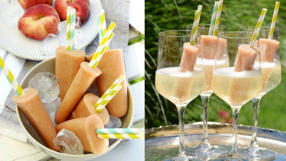 Pfirsich-Popsicles in Prosecco – so schmeckt der Sommer!