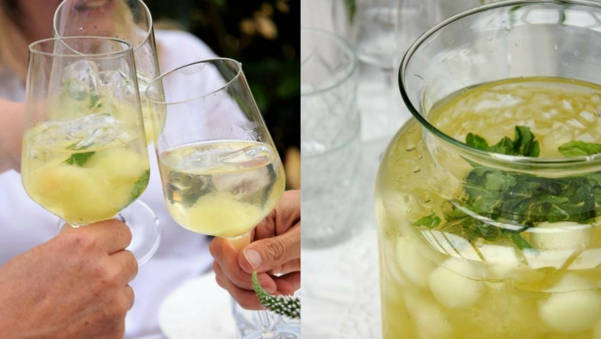 Geeiste Melonen-Bowle mit Limoncello – mein Drink zum WhiteDinner