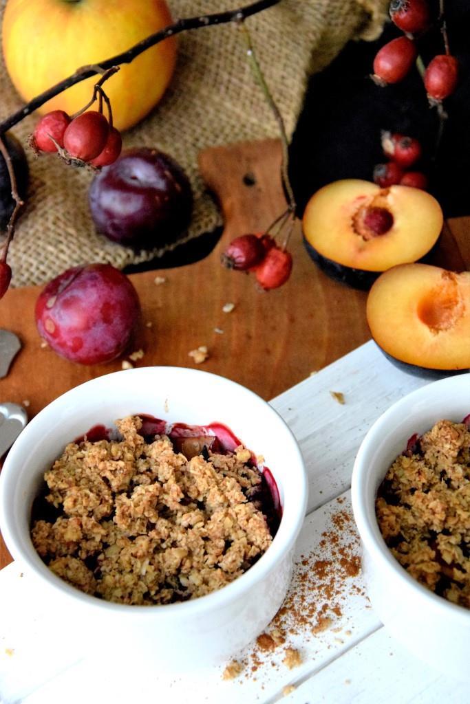 Apfel-Pflaumen Crumble Vegan - Unterfreundenblog