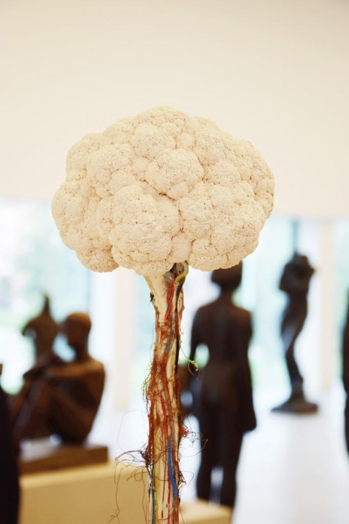 Ist das Kunst? Blumenkohl auf Kabelsalat, im Hintergrund Skulpturen - in der Kunsthalle Mannheim