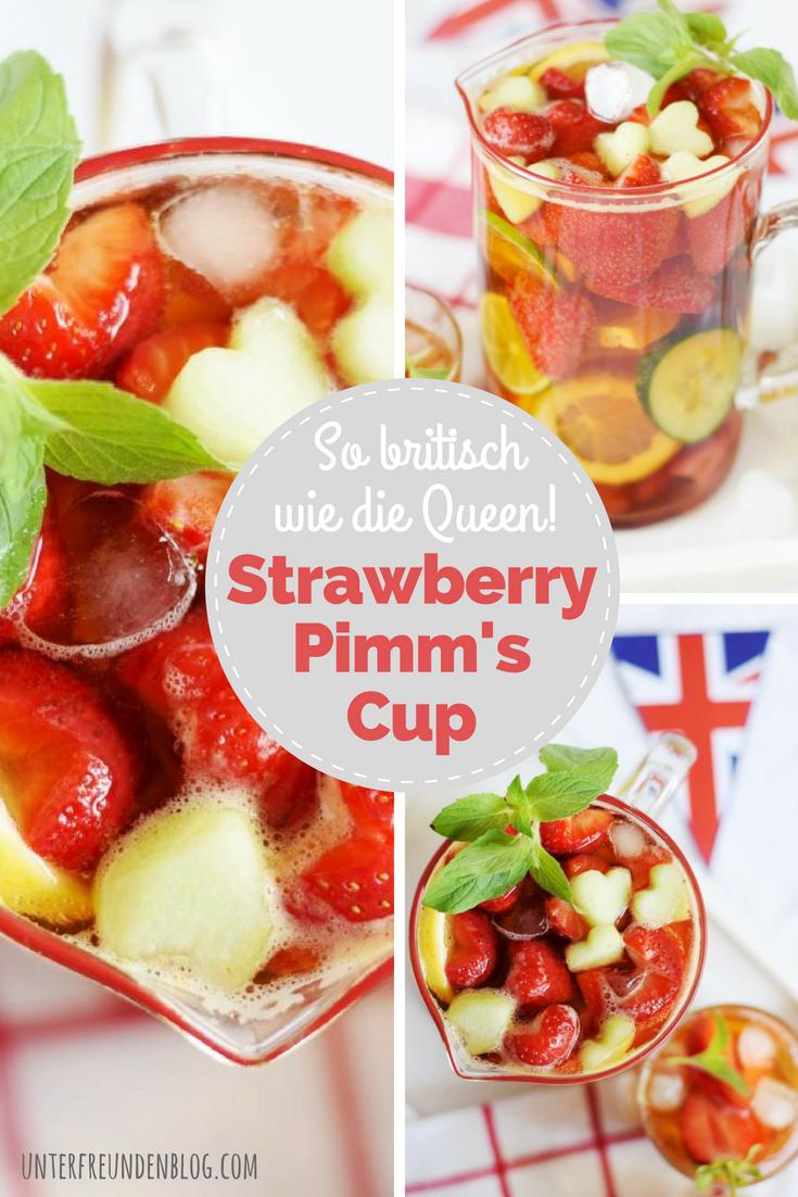 So britisch wie rote Doppeldecker-Busse und die Queen - der Pimm's Cup - hier als herzige Erdbeer-Variante - Rezept von Unterfreundenblog