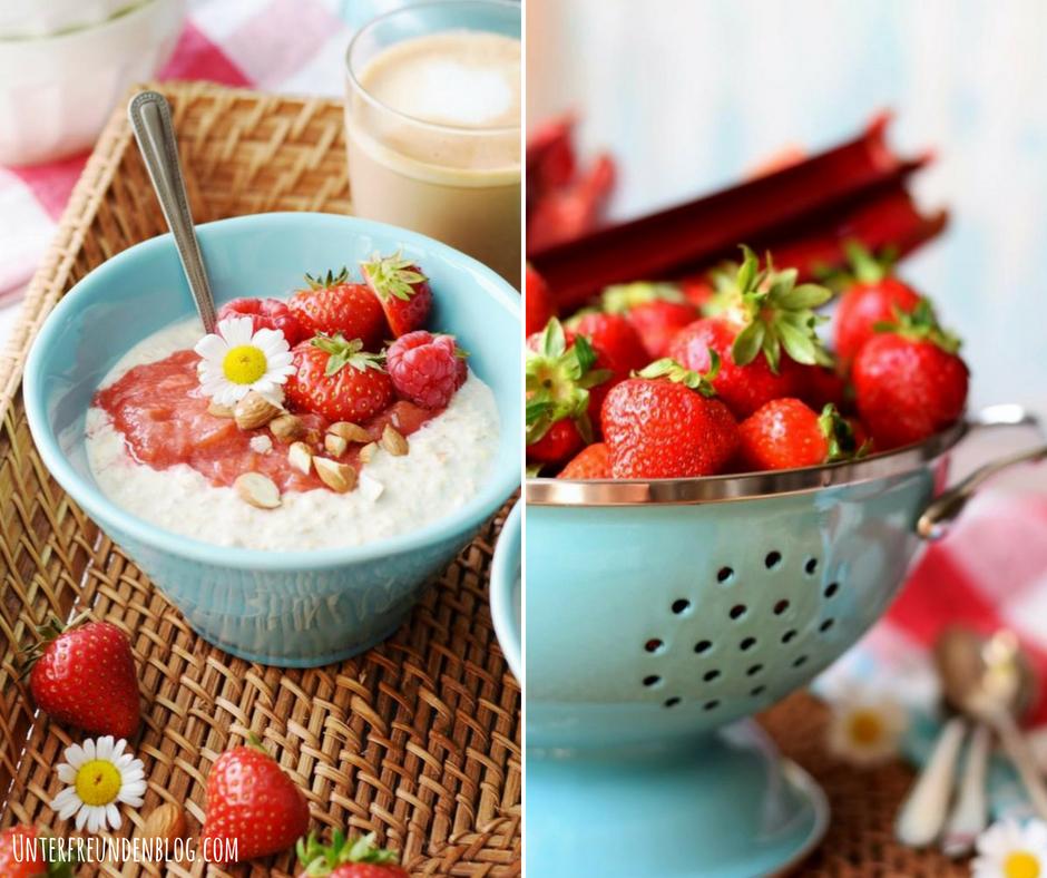 Frühstück ist fertig! Vanille-Overnight-Oats mit schnellem Rhabarber-Erdbeer-Kompott