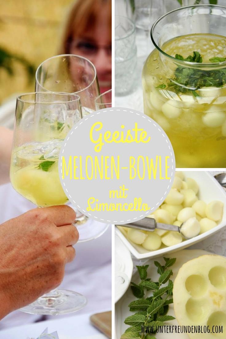 Frisch, frischer, geeiste Melonen-Bowle mit Limoncello