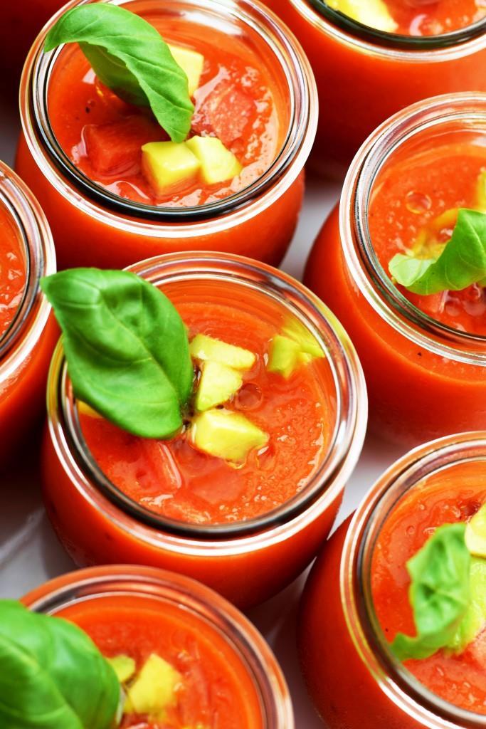 Meine Vorspeise für das Red Dinner: Wassermelonen-Gazpacho im Glas