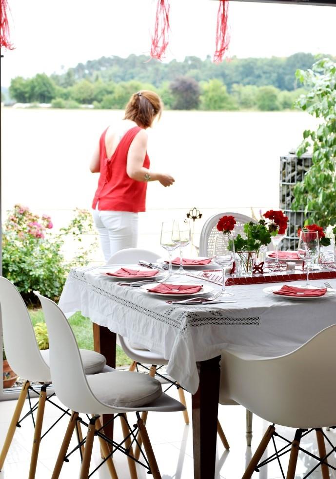 Die Deko für das Red Dinner - das Werk unserer Deko-Fee Sonja