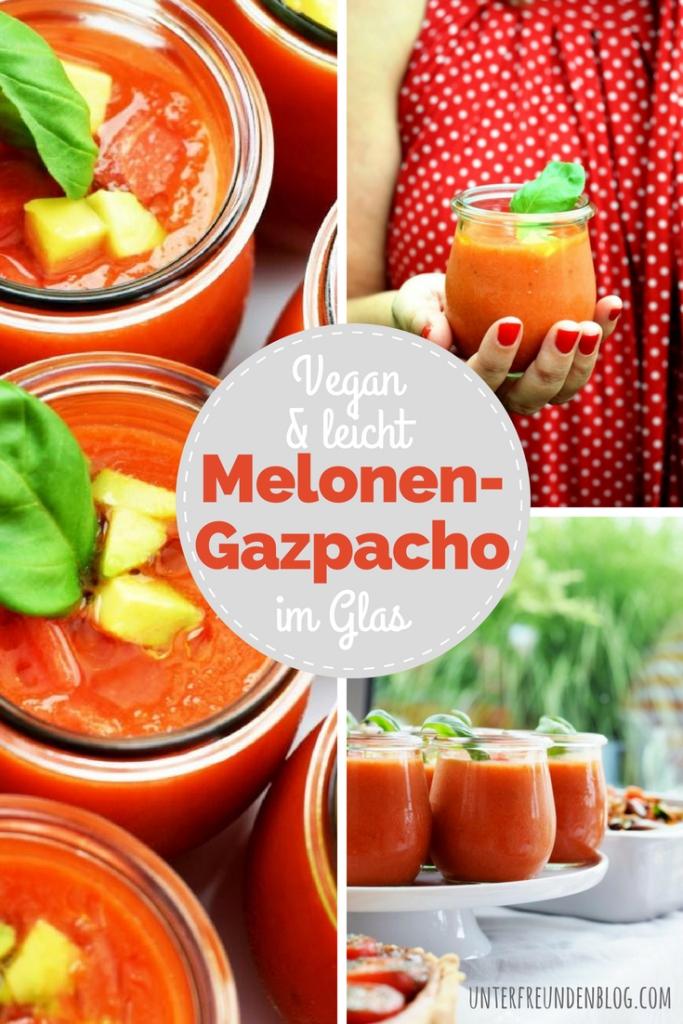 Rezept für Wassermelonen-Gazpacho im Glas / Red Dinner / Unterfreundenblog