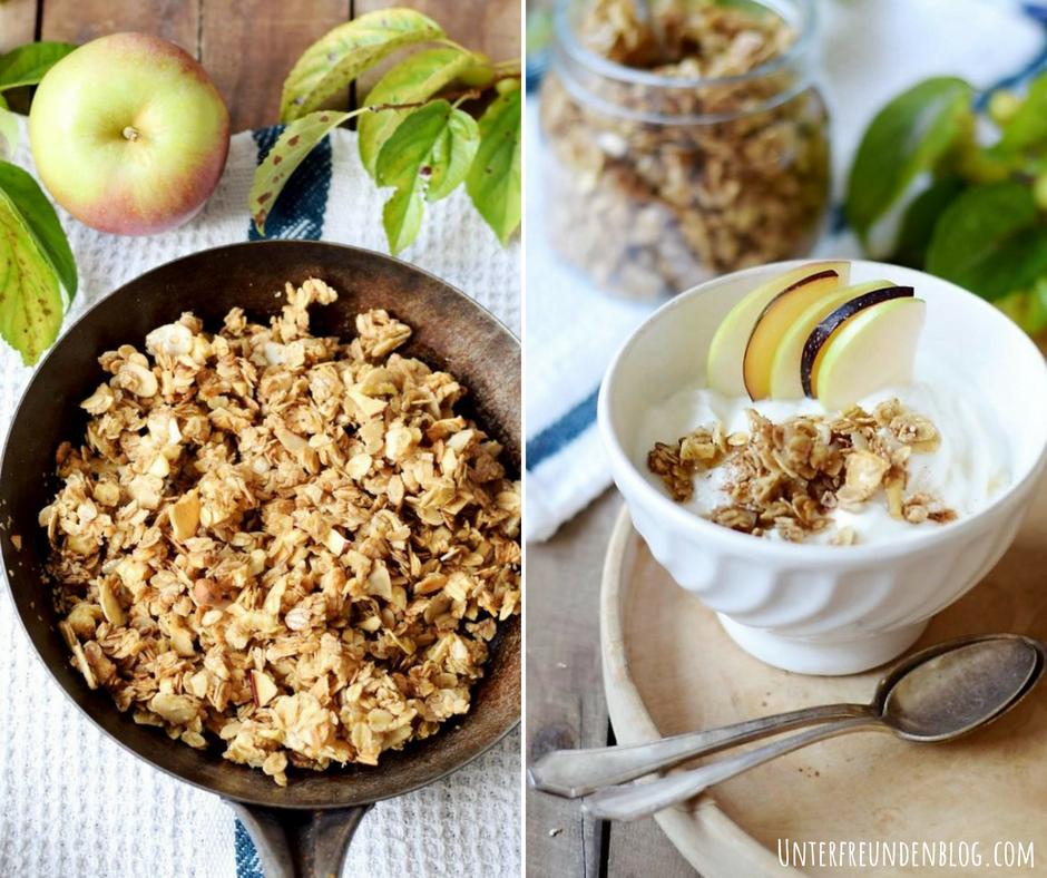 In 5 Minuten zum Knuspermüsli-Glück - das crunchy Apfel-Zimt-Granola aus der Pfanne