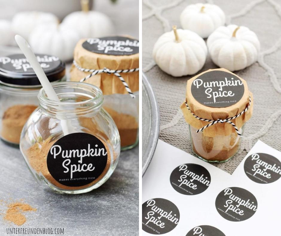 """Pumpkin Pie Spice, in nur 5 Minuten selbst gemacht! Mit schickem Etikett nur für Euch """"Pumpkin Spice makes everythingnice"""""""