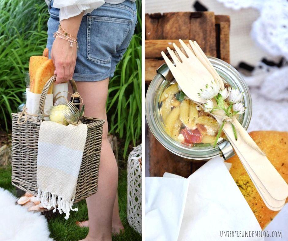 Ich packe meinen Picknick Korb und bringe mit: sommerlichen Pasta-Salat imGlas