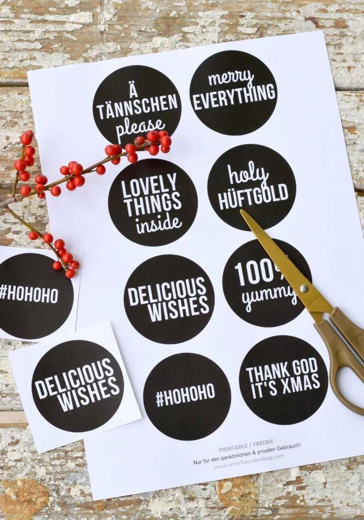 Weihnachten Etiketten Printables