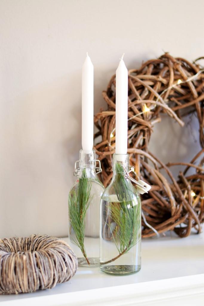 Weihnachtsdeko Kerzen in Flaschen