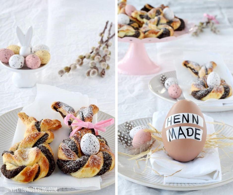 Mein Name ist Hase und ich komme zum Oster-Frühstück! Einfache Blätterteig-Hasen mit Mohn-Orangen-Füllung