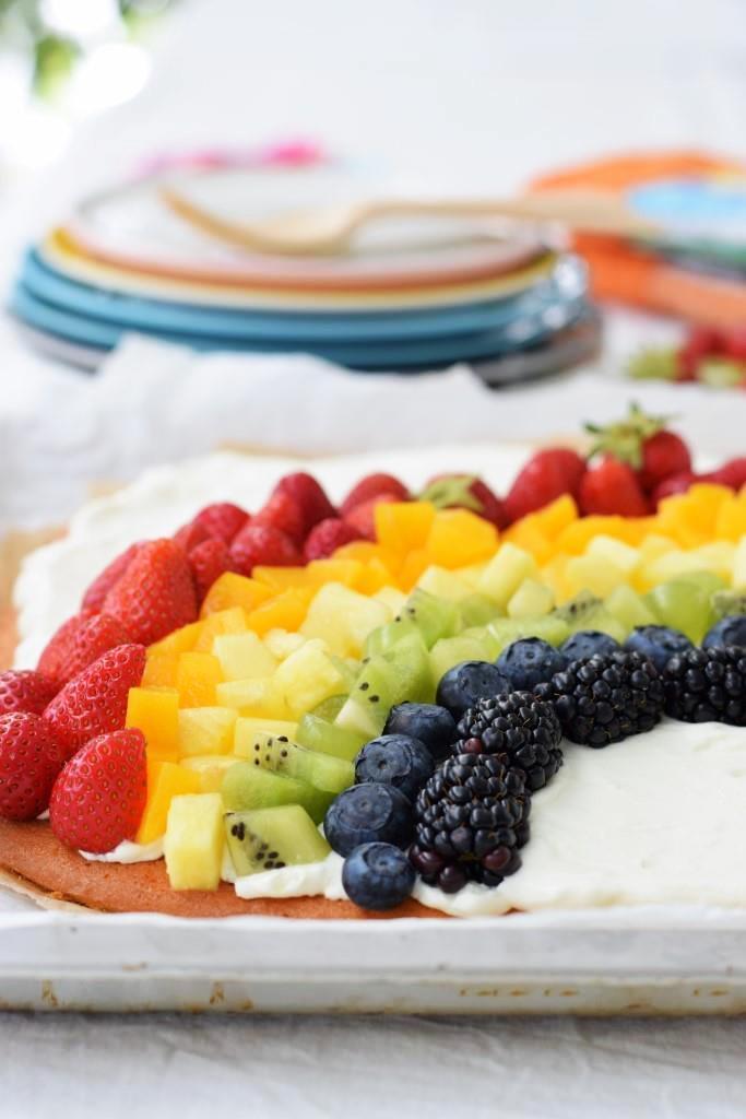 Regenbogen Obstkuchen vom Blech