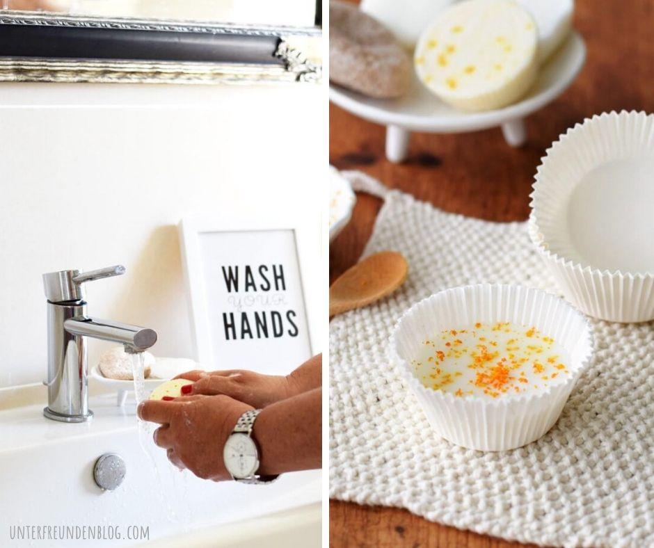 """Seife ganz einfach selbst machen – eine dufte Idee! Gute-Laune-Orangen-Seife plus """"Wash your hands"""" Poster zum Gratisausdrucken!"""