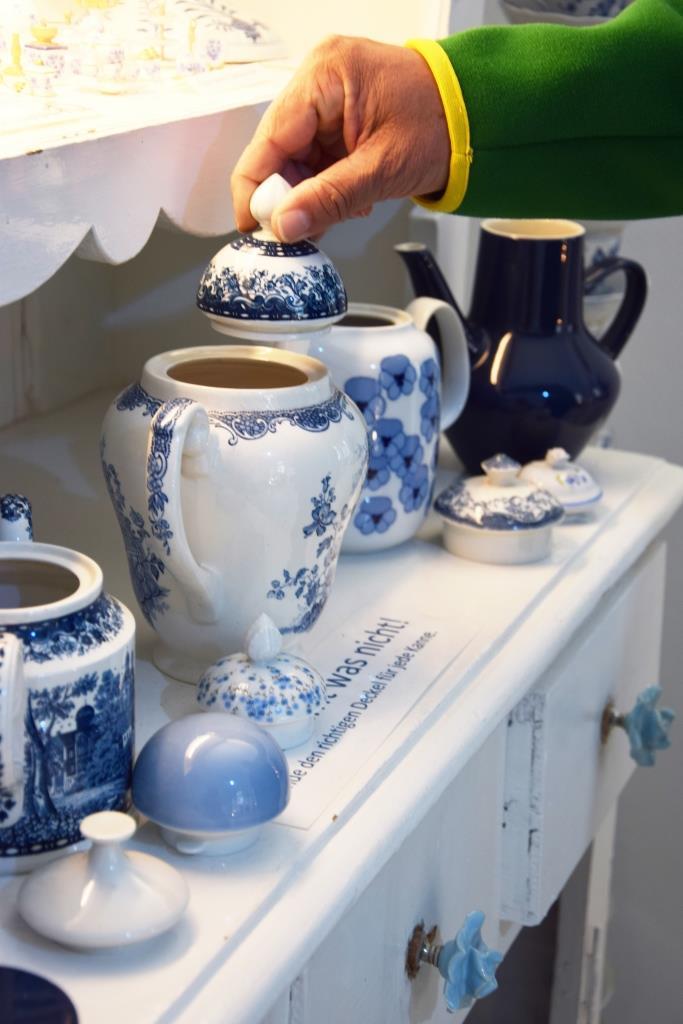 Teekannen Sammlung Blau