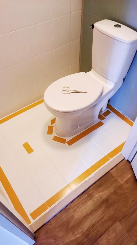 Hier kommt der neue Boden ins WC